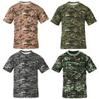 Mens Military Digital Camo Army Combat Camouflage T Shirt Woodland Top ACU XS-XL