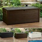 Deck Storage Box Outdoor Patio Furniture Bench Garden Pool Decor Garden 120 Gal