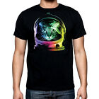 New Space Cat Black T Shirt kitten galaxy neon rave party cute kitty astronaut