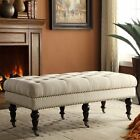 Upholstered Bench Tufted Wheeled Entryway Furniture Wood Fabric End Of Bed Seat