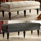 bench furniture entryway - Upholstered Bench Tufted Wheeled Entryway Furniture Wood Fabric End Of Bed Seat