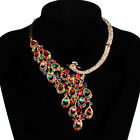 Women Bridal Peacock Rhinestone Crystal Necklace Earrings Set Prom