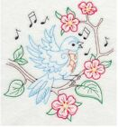 Embroidered 28x28 Flour Sack Kitchen Towel SONG BIRDS Bluebird 3 Choices!