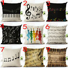 Aesthetic notes Cotton linen car Cushion Cover Square Pillow Cases Home Bedroom