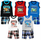 Boys Generation Racer Motor Bike Vest Top & Check Combat Shorts Set 2 - 12 Years
