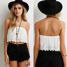 Lady Sexy Lace Crochet Floral Strapless Tops Crop Tops Wrapped Tank Shirt Blouse