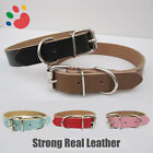 Strong Real Leather Dog collar | Pet Cat Puppy | Tan Black Pink Red | Four Sizes