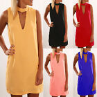 Sexy Womens V Neck Chiffon Sleeveless Party Cocktail Casual New Short Mini Dress