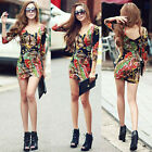 Stylish Women BOHO Long Sleeve Tunic Top V-neck T-shirt Floral Lady Mini Dress