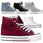 Women's shoes gym sneakers high sport canvas laces WEDGE INTERNAL new NG501