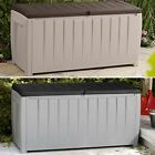 Deck Storage Box Outdoor Furniture Patio Bench 90 Gallon Garden Pool Seat Decor
