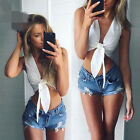 Women Sexy Sleeveless Camisole Shirts New Lacing Summer Casual Blouse Crop Tops