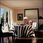 "108"" round tablecloth black and white stripe table cloth cotton"