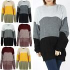 Ladies Chunky Knitted Long Sleeve Contrast Jumper Womens Block Panel Top Sweater