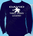 Personalised Table Tennis T-Shirt Long Sleeve Name Of Your Choice Gift Idea