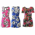 Women Ladies Sleeveless Floral Print Summer Party Jumpsuit Dress Shorts Playsuit
