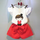 2pcs Toddler Kids Baby Girl Outfits Summer Tops T-shirt Pants Clothes Sets 2-7Y