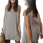 CHIC Fashion Women Summer Sleeveless Casual Loose Blouse Mini Shirt Vest Dresses