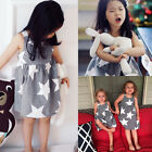 Toddler Infant Baby Kids Girls Gray&White Stripe Birthday Party Pageant Dresses