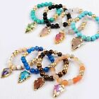 1 Strand 8mm Rough Multi-Kind Stone Beads & Quartz Arrowhead Bracelet QG0750