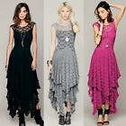 Women Allover Lace Backless Tiered Cocktail Party Asymmetric Hem Long Maxi Dress
