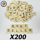 200 WOOD SCRABBLE TILES WOODEN BLACK NUMBERS LETTERS BOARD CRAFTS GENUINE UK NEW