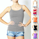 Woman Cotton Plain Camisole Cami Basic Spaghetti Strap Layering Long Tank Top