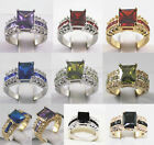 wonderful green blue purple red black zirconia 18 KGP ring