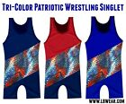 ADULT WRESTLING SINGLET: PATRIOTIC TRI-COLOR NWOT