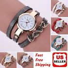 Fashion Women Faux Leather Crystal Bracelet Ladies Quartz Analog Wrist Watch HOT image