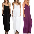 Sexy Women Spaghetti Strap V neck Long Maxi Dress Beach Dress Party Evening Gown
