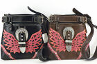 CROSS BODY MESSENGER BAG WESTERN ANGEL WINGS BUCKLE PURSE BLACK OR BROWN 1115