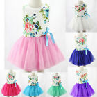 Baby Kids Girl Toddler Princess Pageant Party Tutu Lace Bow Floral Dress 1-6Y