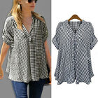 Women Fashion Plus Size Loose Short Sleeve Casual Plaid Shirt Tops Blouse