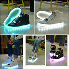 Fashion Women Men USB LED Light Lace Up Sportswear Sneaker High Top Shoes Casual