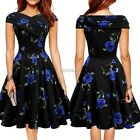 Sexy Women Vintage Style Sleeveless Sundress Floral Pleated Dress 3 Colors K0E1