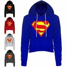Ladies Superman Fleece Womens Long Sleeve Cropped Hooded Hoody Sweatshirt Top