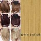 Short Neat Bangs Clip on Front Bang Fringe clip in Hair Extensions Brown Blonde