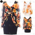 Womens Gold Belt Chiffon Batwing Ladies Floral Stretch V Neck Bodycon Mini Dress