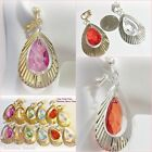 "CLIP ON 1-3/4"" Drop Ribbed Teardrop Acrylic Bead Dangle Non-Pierced Earrings"