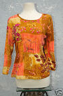 Plus Size Club Z Collection Womans Top 100% Cotton 1X Floral Amber Peach New