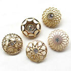 5/20/100pcs Gold Alloy Rhinestone Hollow Buttons 25mm Sewing Craft T0900