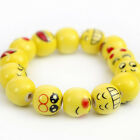 50pcs/100pcs 14mm Ceramic Emoticon Face Round Beads For DIY/Hand-woven