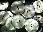 Large 34mm 54L Pearlescent Shell Effect Ivory Grey 2 Hole Coat Button (W164)