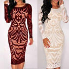 Women Long Sleeve Bodycon Floral Lace Evening Sexy Party Cocktail Midi Dress