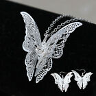 Elegant Wedding Bridal Silver Plated Butterfly Necklace Earrings Jewelry Set