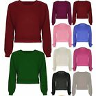 Ladies Long Sleeve Chunky Knitted OverSized Baggy Womens Plain Crop Jumper Top