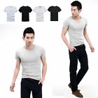 CHIC Mens Sport V-neck Round-neck Cotton Sport Tight Fit Muscle Casual T-shirt