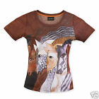 Laurel Burch Brown Morrocan Mare Short Sleeve Scoop Neck Polyester Tee Shirt New