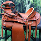"NI-W04 WESTERN LEATHER COWBOY WADE RANCH ROPING HORSE SADDLE 16"" 17"" W/ TACK SET"